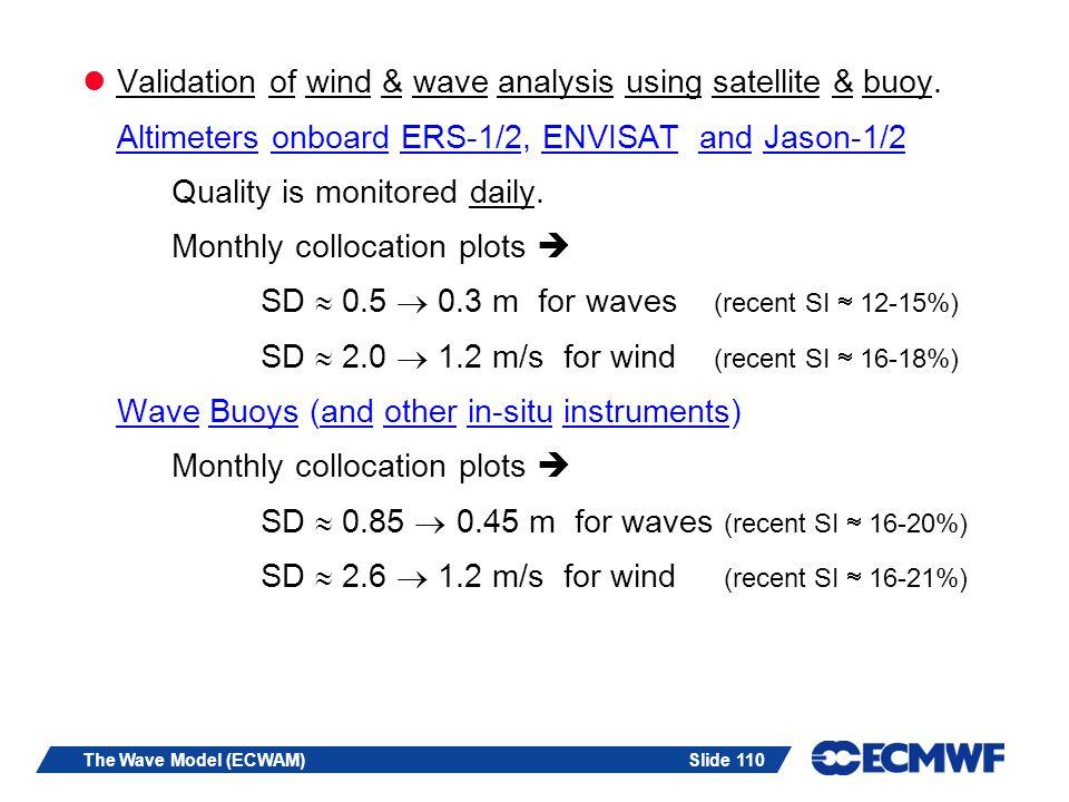 Slide 110The Wave Model (ECWAM) Validation of wind & wave analysis using satellite & buoy.