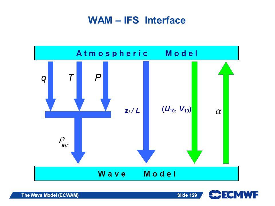 Slide 129The Wave Model (ECWAM) WAM – IFS Interface A t m o s p h e r i c M o d e l qTP air z i / L (U 10,V ) W a v e M o d e l
