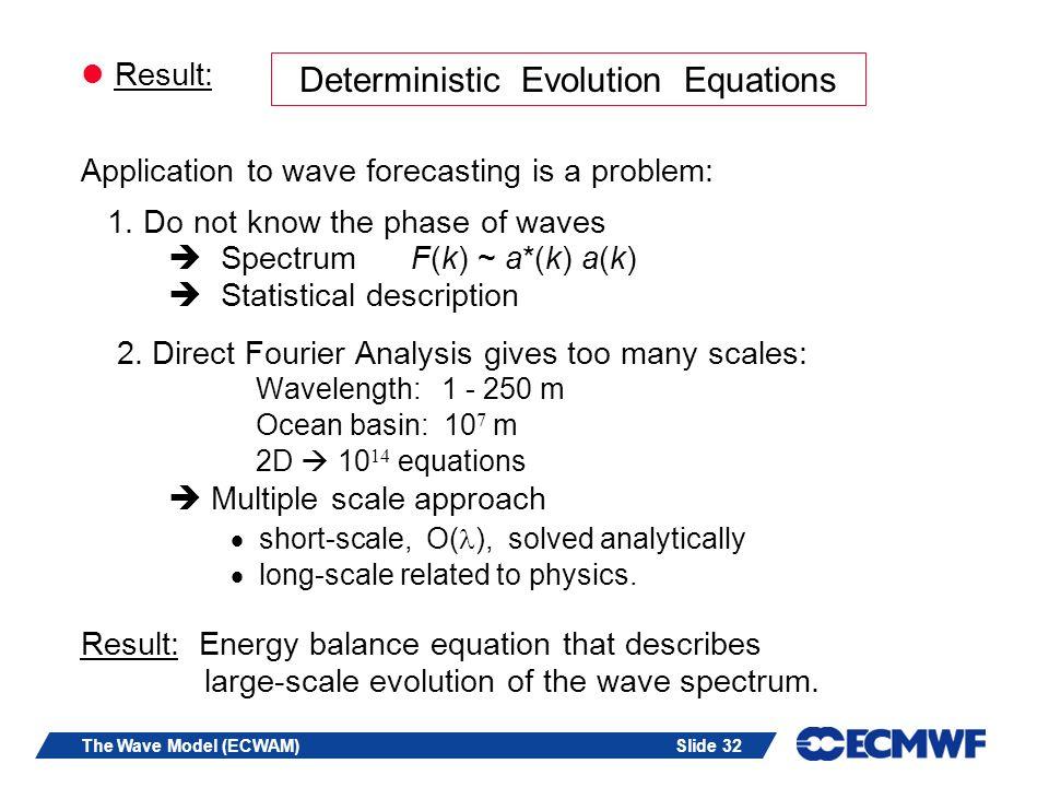 Slide 32The Wave Model (ECWAM) Result: Application to wave forecasting is a problem: 1.