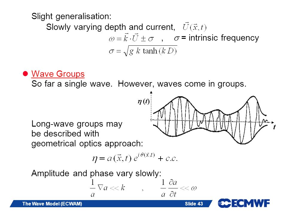 Slide 43The Wave Model (ECWAM) Slight generalisation: Slowly varying depth and current,, = intrinsic frequency Wave Groups So far a single wave.