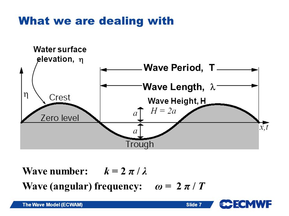 Slide 7The Wave Model (ECWAM) What we are dealing with Wave Period, T Wave Length, Wave Height, H Water surface elevation, Wave number: k = 2 π / λ Wa