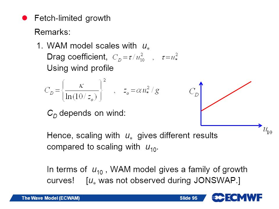 Slide 95The Wave Model (ECWAM) Fetch-limited growth Remarks: 1.WAM model scales with u Drag coefficient, Using wind profile C D depends on wind: Hence