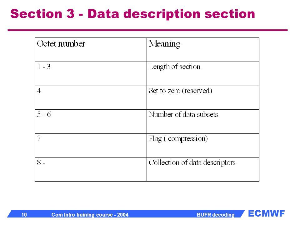 ECMWF 10 Com Intro training course - 2004 BUFR decoding Section 3 - Data description section
