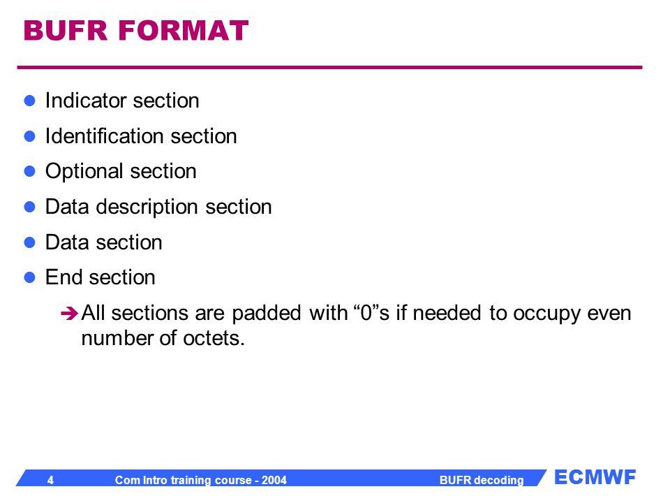 ECMWF 25 Com Intro training course - 2004 BUFR decoding BUFR tool BUFR profiler available from /home/ma/emos/bin/sgimips/xbdc