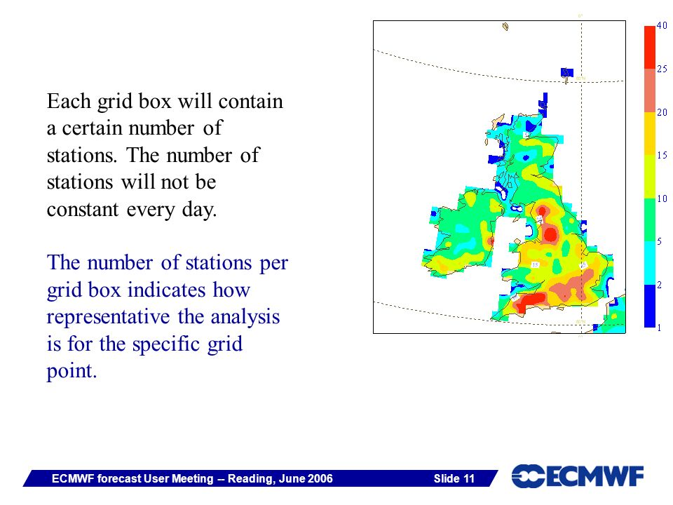 Slide 11ECMWF forecast User Meeting -- Reading, June 2006 Each grid box will contain a certain number of stations.
