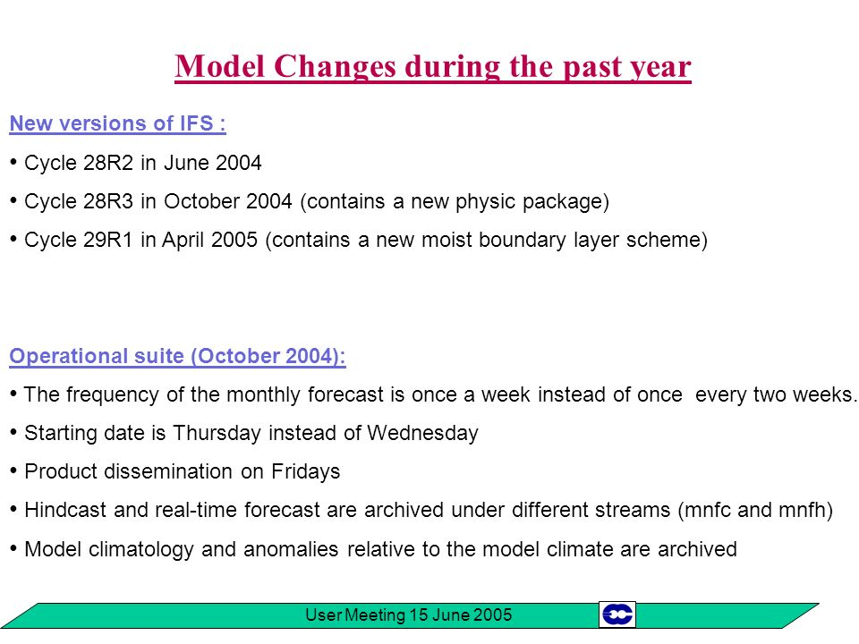 User Meeting 15 June 2005 Model Changes during the past year New versions of IFS : Cycle 28R2 in June 2004 Cycle 28R3 in October 2004 (contains a new