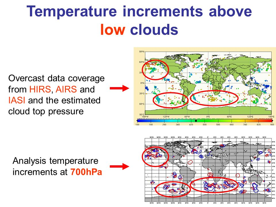 Temperature increments above low clouds Analysis temperature increments at 700hPa Overcast data coverage from HIRS, AIRS and IASI and the estimated cl