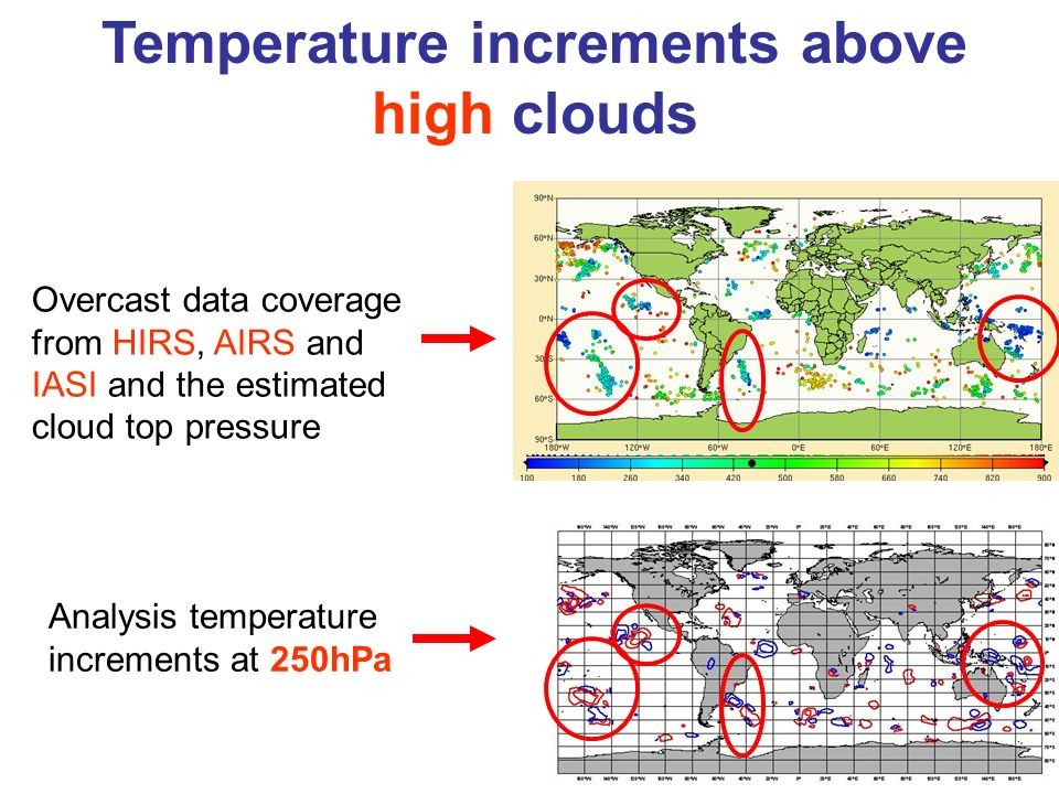 Temperature increments above high clouds Analysis temperature increments at 250hPa Overcast data coverage from HIRS, AIRS and IASI and the estimated c