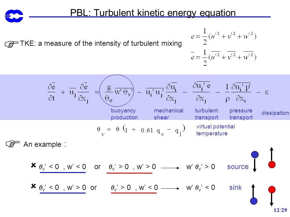 12/29 TKE: a measure of the intensity of turbulent mixing turbulent transport pressure transport buoyancy production mechanical shear dissipation PBL:
