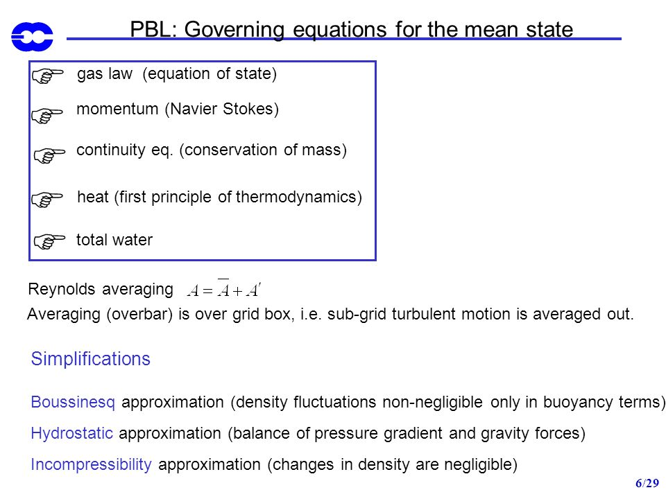 7/29 PBL: Governing equations for the mean state Reynolds averaging gas law virtual temperature