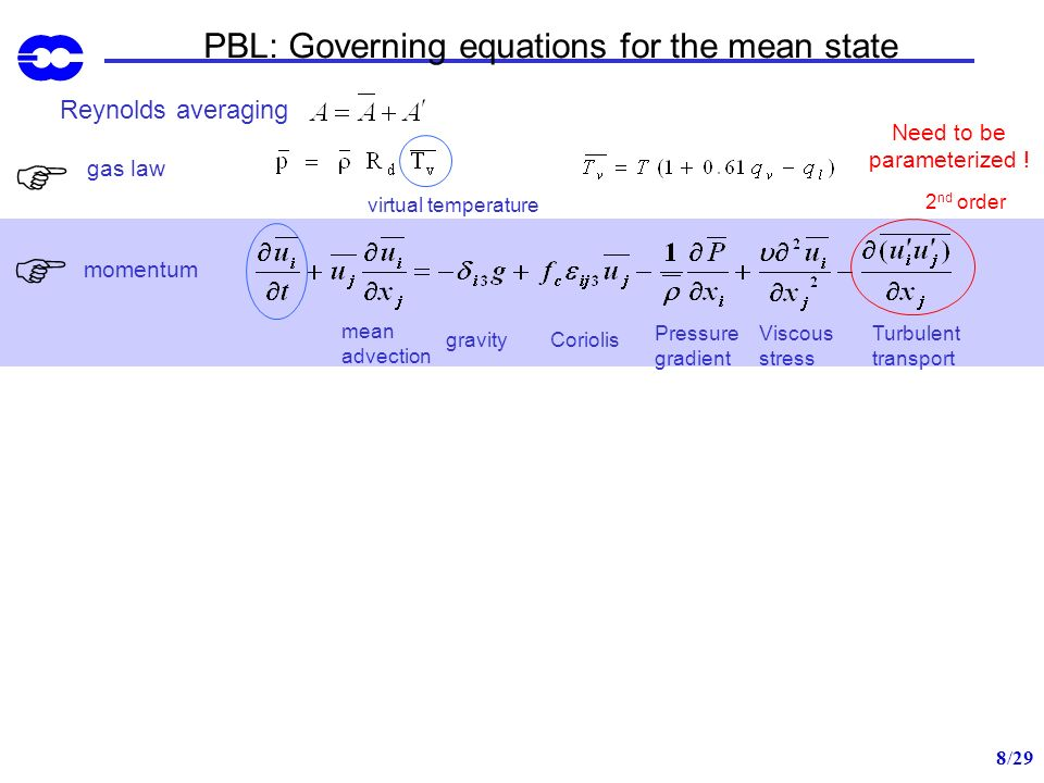 9/29 PBL: Governing equations for the mean state Reynolds averaging gas law virtual temperature mean advection gravity momentum Coriolis Pressure gradient Viscous stress Turbulent transport continuity eq.