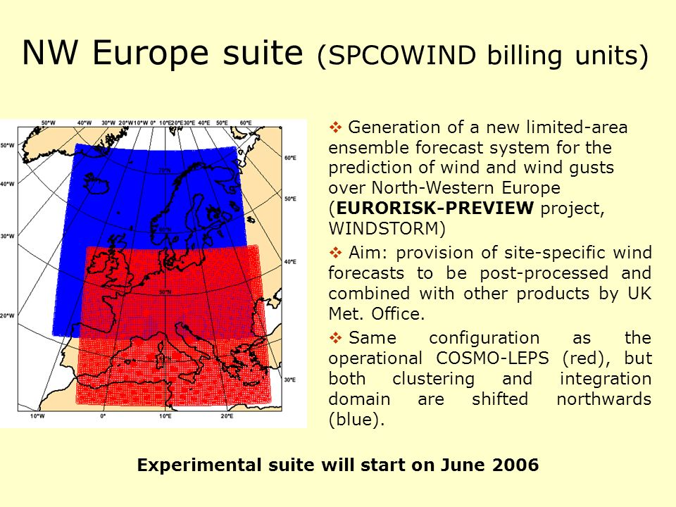 NW Europe suite (SPCOWIND billing units) Generation of a new limited-area ensemble forecast system for the prediction of wind and wind gusts over Nort
