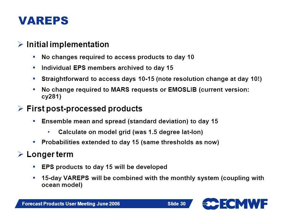 Slide 30 Forecast Products User Meeting June 2006 Slide 30 VAREPS Initial implementation No changes required to access products to day 10 Individual E