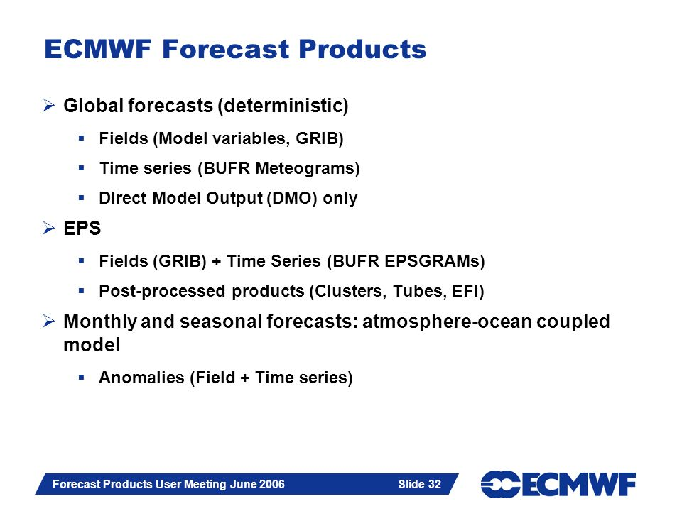 Slide 32 Forecast Products User Meeting June 2006 Slide 32 ECMWF Forecast Products Global forecasts (deterministic) Fields (Model variables, GRIB) Tim