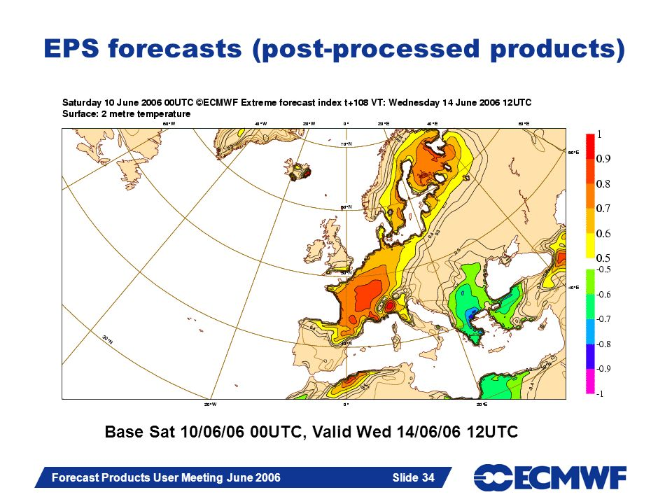 Slide 34 Forecast Products User Meeting June 2006 Slide 34 EPS forecasts (post-processed products) Extreme forecast index for 2m temperature Base Sat