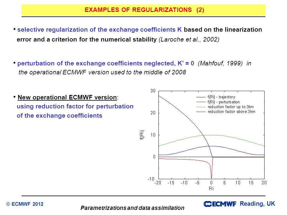 Reading, UK Parametrizations and data assimilation © ECMWF 2012 selective regularization of the exchange coefficients K based on the linearization err