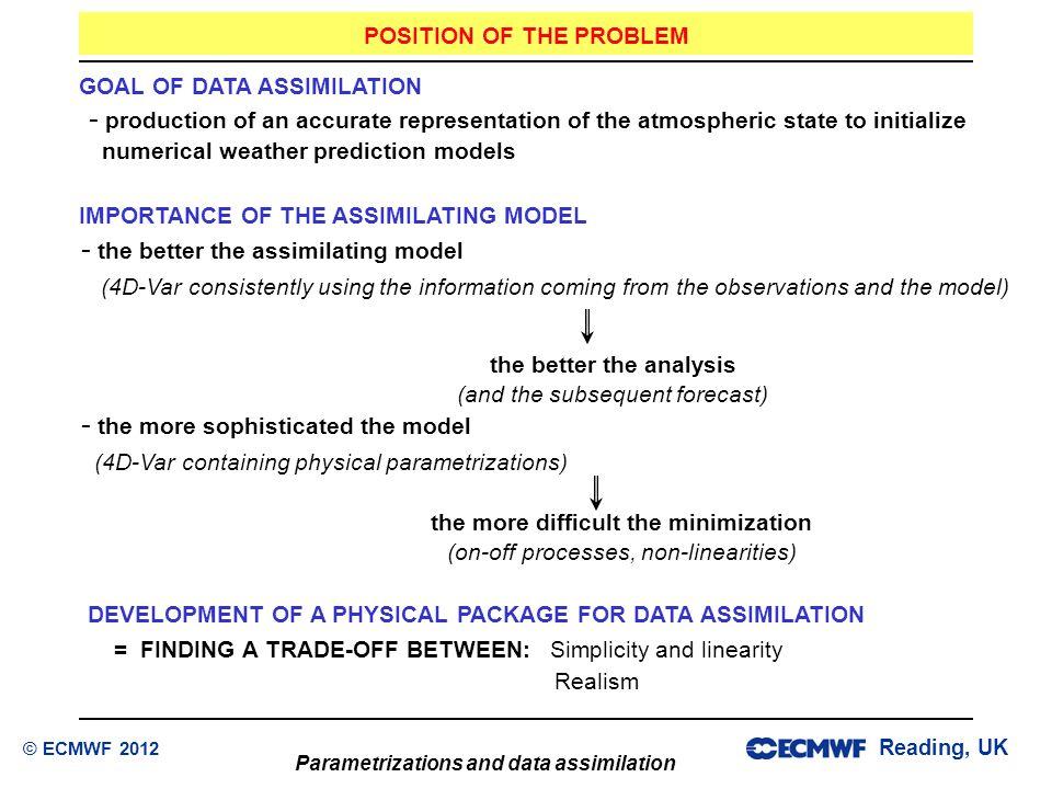 Reading, UK Parametrizations and data assimilation © ECMWF 2012 IMPORTANCE OF THE ASSIMILATING MODEL  the better the assimilating model (4D-Var consi