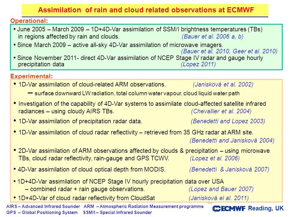 Reading, UK Parametrizations and data assimilation © ECMWF 2012 June 2005 – March 2009 – 1D+4D-Var assimilation of SSM/I brightness temperatures (TBs)
