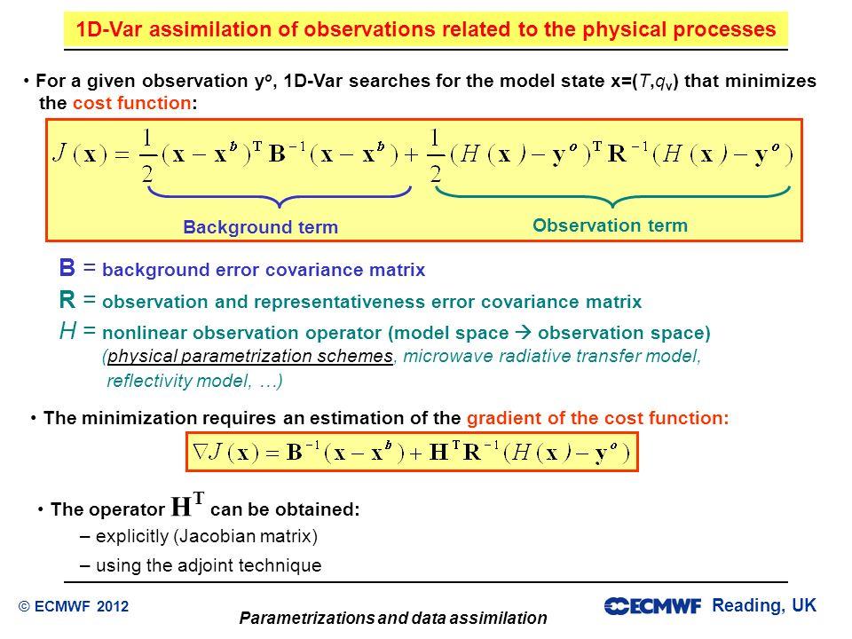 Reading, UK Parametrizations and data assimilation © ECMWF 2012 B = background error covariance matrix R = observation and representativeness error co