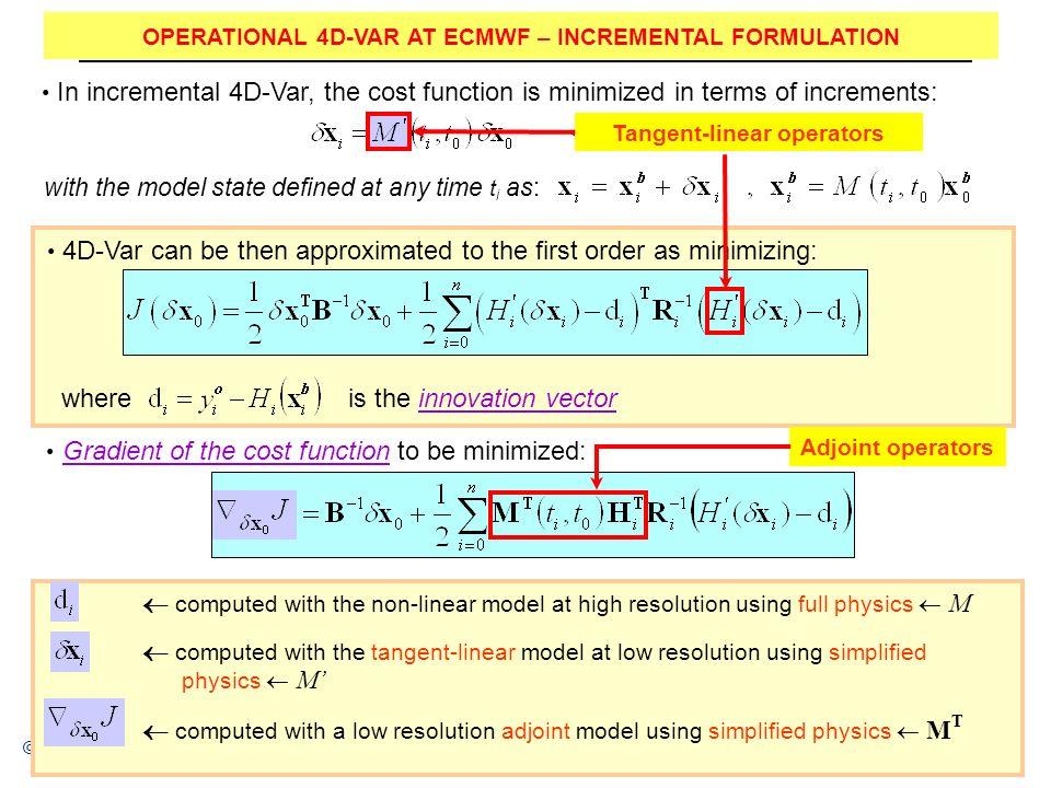 Reading, UK Parametrizations and data assimilation © ECMWF 2012 OPERATIONAL 4D-VAR AT ECMWF – INCREMENTAL FORMULATION 4D-Var can be then approximated