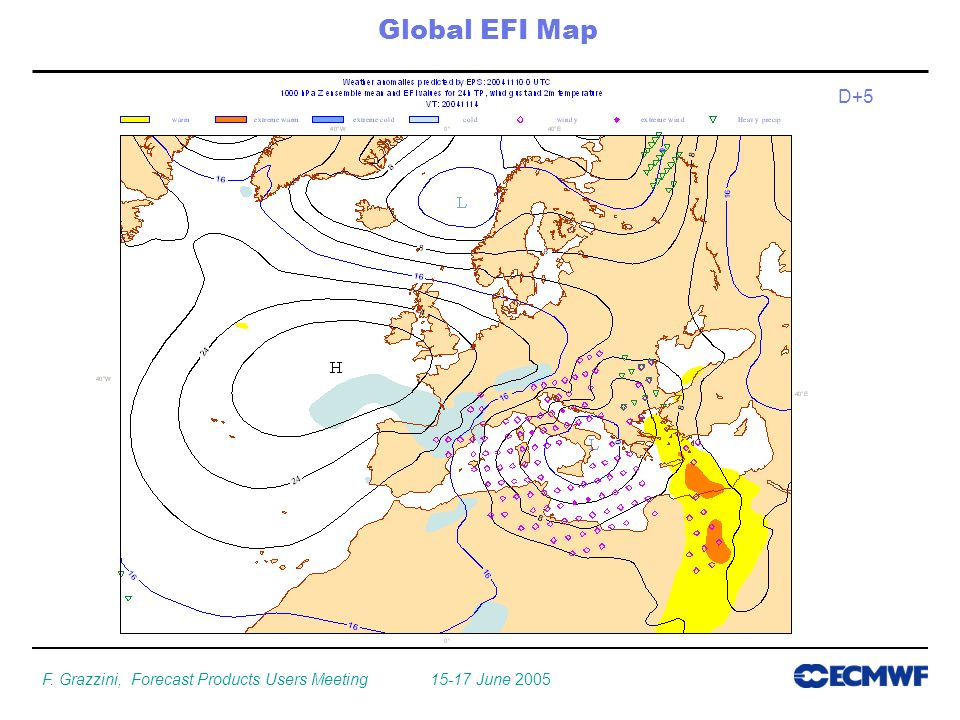 F. Grazzini, Forecast Products Users Meeting June 2005 Global EFI Map D+5