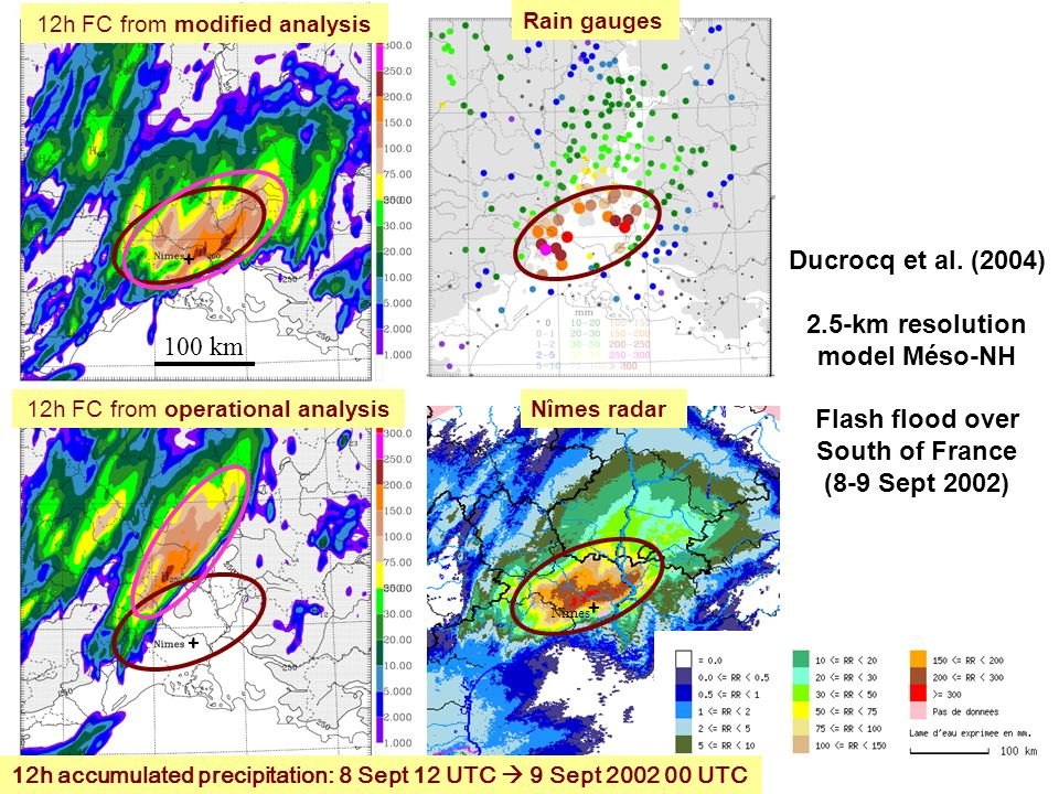 Ducrocq et al. (2004) 2.5-km resolution model Méso-NH Flash flood over South of France (8-9 Sept 2002) + Nîmes + 12h FC from operational analysis + Ra
