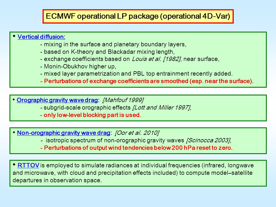 ECMWF operational LP package (operational 4D-Var) RTTOV is employed to simulate radiances at individual frequencies (infrared, longwave and microwave, with cloud and precipitation effects included) to compute model–satellite departures in observation space.