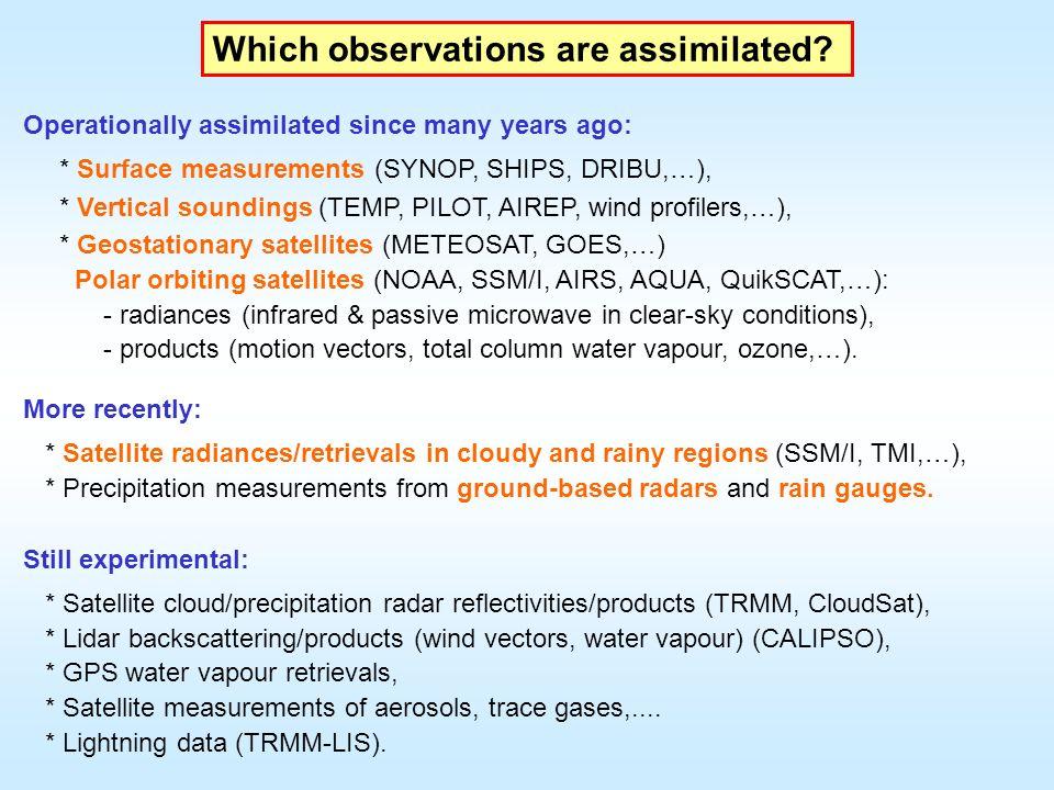 Three 4D-Var assimilation experiments (20 May - 15 June 2005): CTRL = all standard observations.