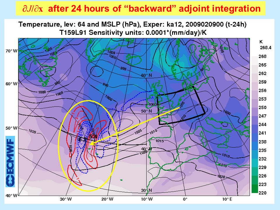 J/ x after 24 hours of backward adjoint integration J/ T level 64 ( 500 hPa)