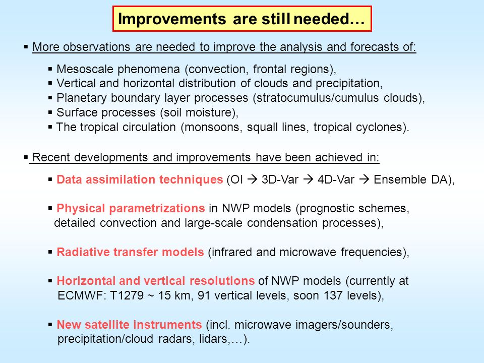 Improvements are still needed… More observations are needed to improve the analysis and forecasts of: Mesoscale phenomena (convection, frontal regions