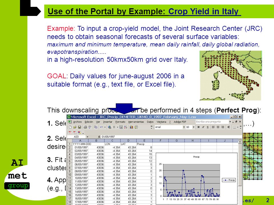 AI met group http://www.meteo.unican.es/ 2 Use of the Portal by Example: Crop Yield in Italy Example: To input a crop-yield model, the Joint Research Center (JRC) needs to obtain seasonal forecasts of several surface variables: maximum and minimum temperature, mean daily rainfall, daily global radiation, evapotranspiration.....