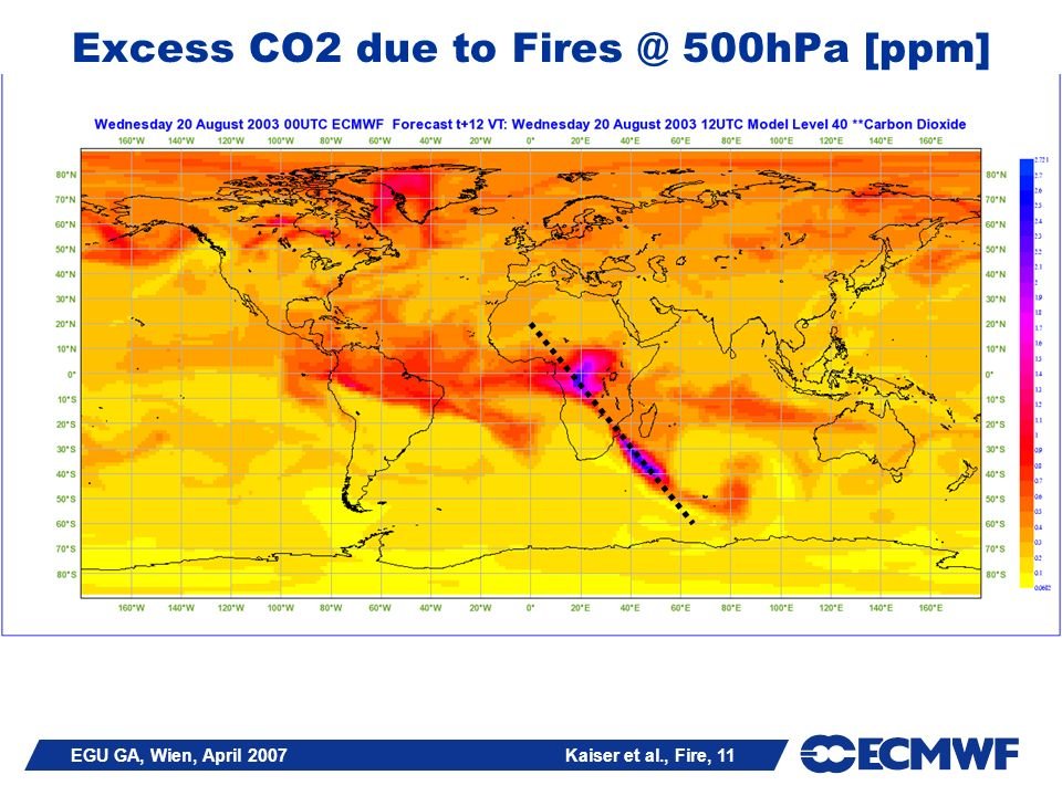 EGU GA, Wien, April 2007 Kaiser et al., Fire, 11 Excess CO2 due to 500hPa [ppm]