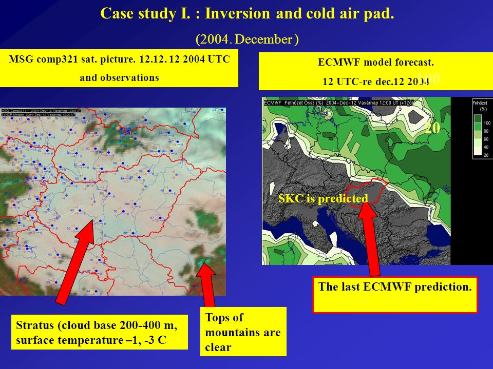 Case study I. : Inversion and cold air pad. (2004.
