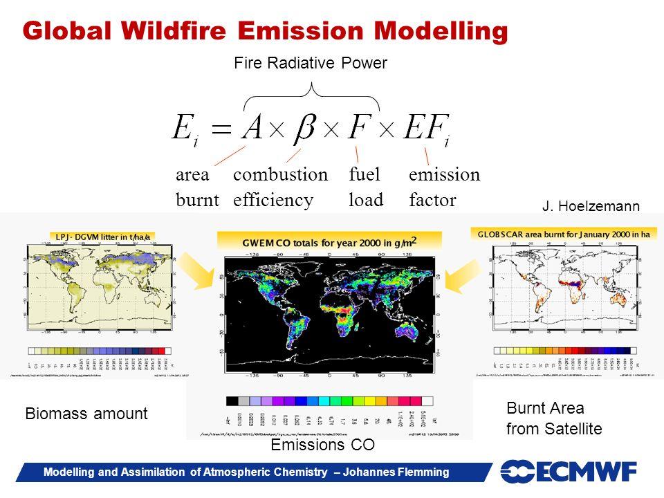 Modelling and Assimilation of Atmospheric Chemistry – Johannes Flemming area burnt combustion efficiency fuel load emission factor J. Hoelzemann Emiss