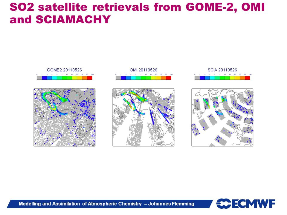 Modelling and Assimilation of Atmospheric Chemistry – Johannes Flemming SO2 satellite retrievals from GOME-2, OMI and SCIAMACHY
