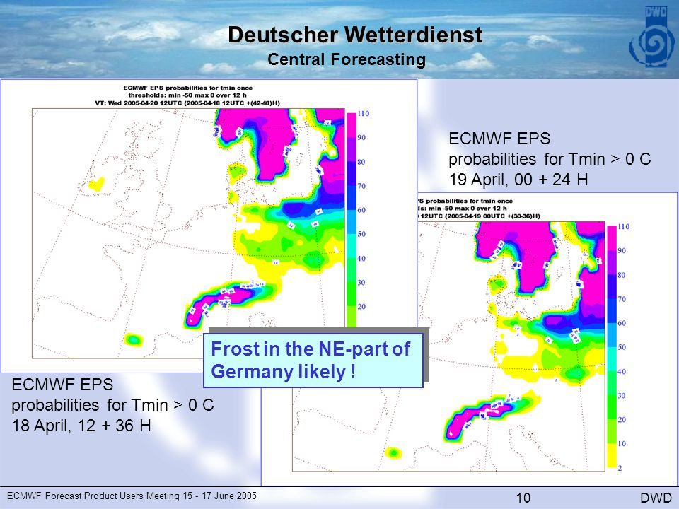 Deutscher Wetterdienst Central Forecasting DWD ECMWF Forecast Product Users Meeting June ECMWF EPS probabilities for Tmin > 0 C 18 April, H ECMWF EPS probabilities for Tmin > 0 C 19 April, H Frost in the NE-part of Germany likely .