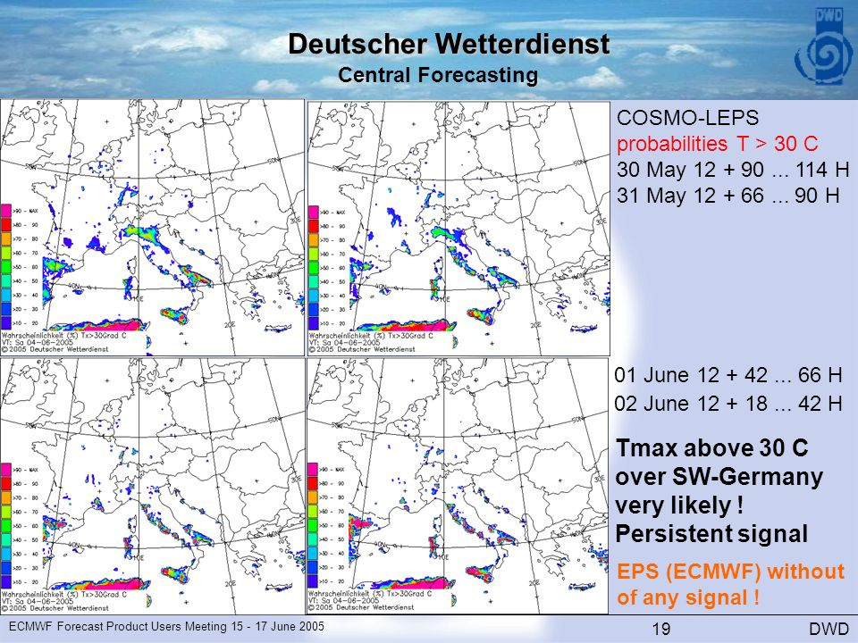 Deutscher Wetterdienst Central Forecasting DWD ECMWF Forecast Product Users Meeting June COSMO-LEPS probabilities T > 30 C 30 May
