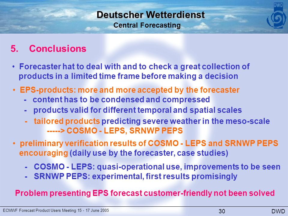 Deutscher Wetterdienst Central Forecasting DWD ECMWF Forecast Product Users Meeting June