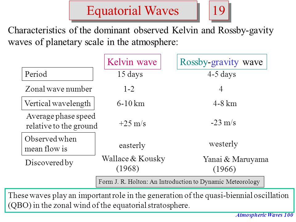 Atmospheric Waves99 Equatorial Waves 18 Structure of equatorial Kelvin waves: Plan view of horizontal velocity and height perturbations associated wit