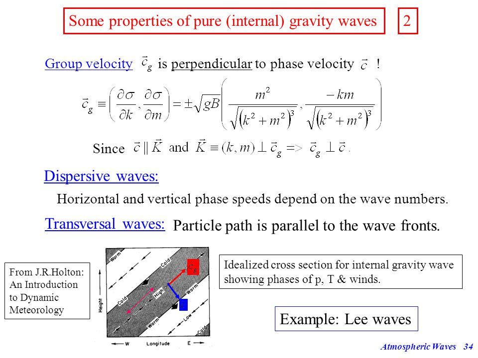 Atmospheric Waves33 Some properties of pure (internal) gravity waves We neglect the term in (41) for the following discussion. This is equivalent to a