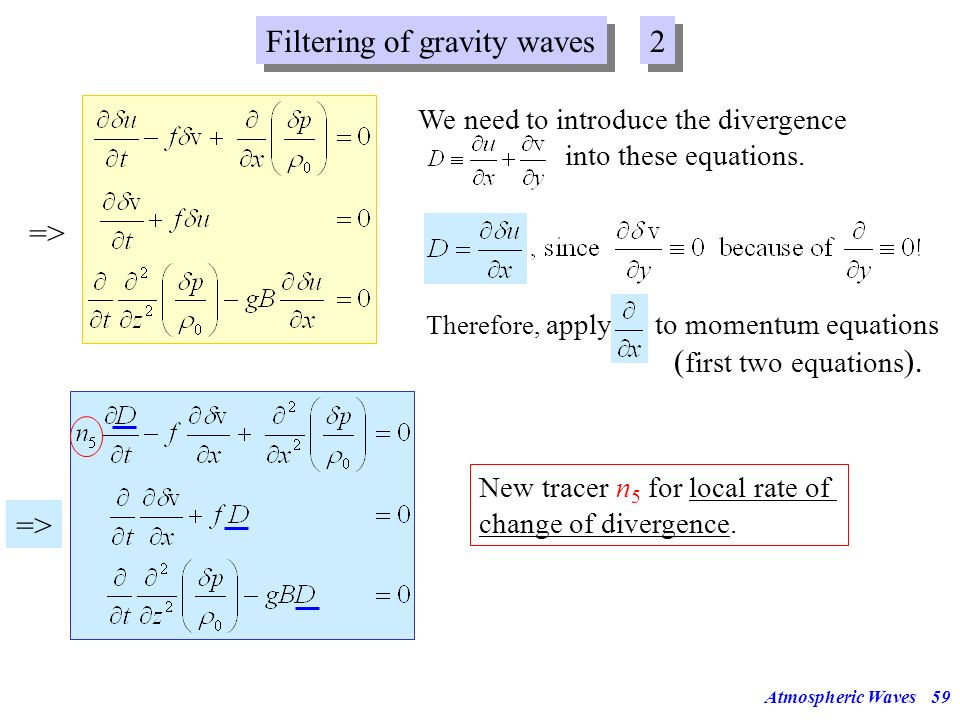 Atmospheric Waves58 Gravity waves were filtered out in older models of the large-scale dynamics of the atmosphere because they can cause numerical pro