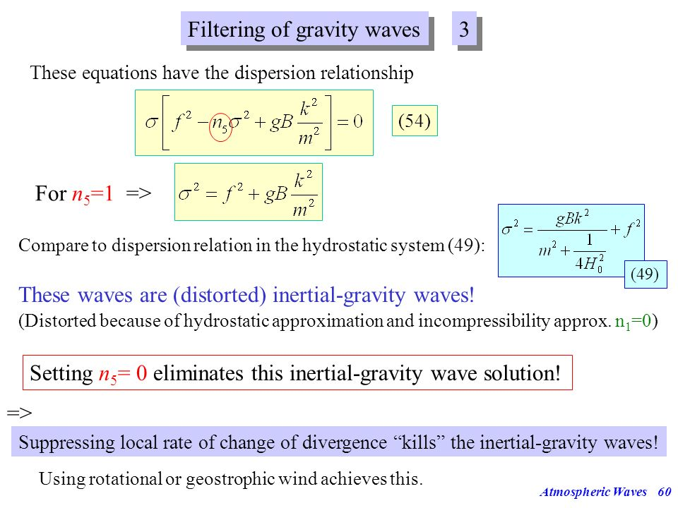 Atmospheric Waves59 Filtering of gravity waves 2 2 => We need to introduce the divergence into these equations. Therefore, apply to momentum equations
