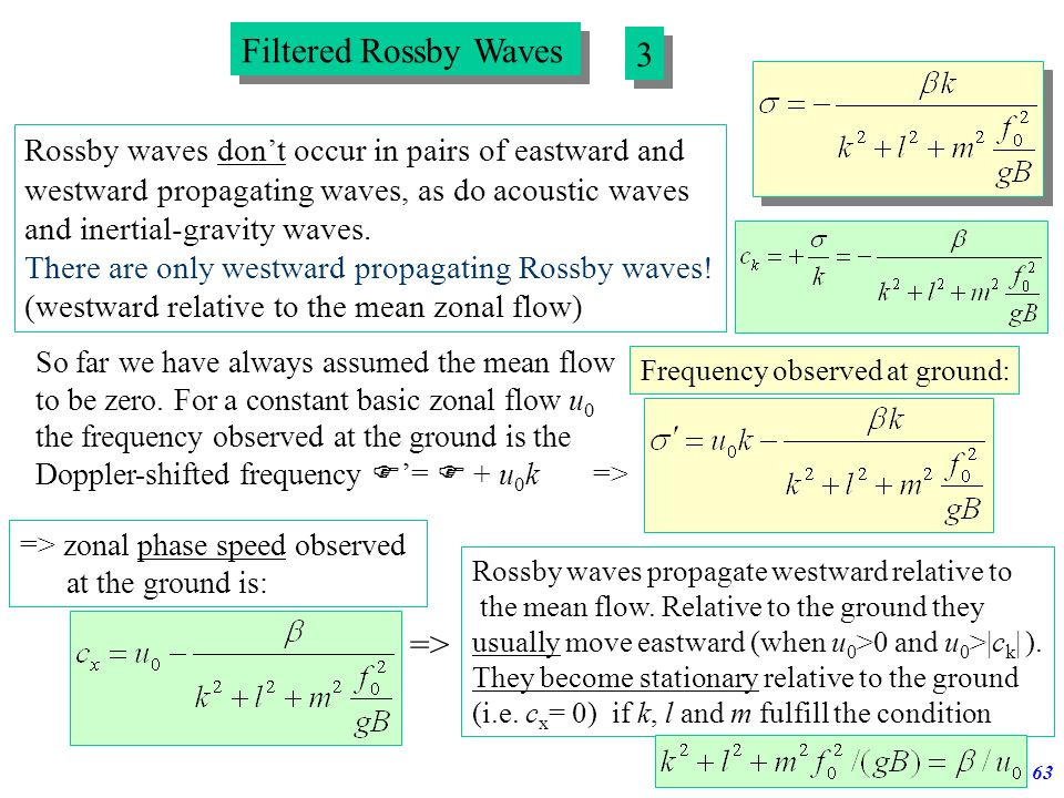 Atmospheric Waves62 Filtered Rossby Waves 2 2 With these approximations one obtains from the linearized 3d basic equations the following equation for
