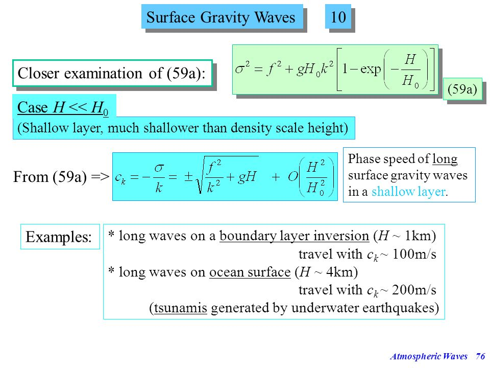 Atmospheric Waves75 Surface Gravity Waves 9 9 Solution (59) has also to fulfill the boundary condition (iii) (equation (58a)). (58a) (iii) Insert into