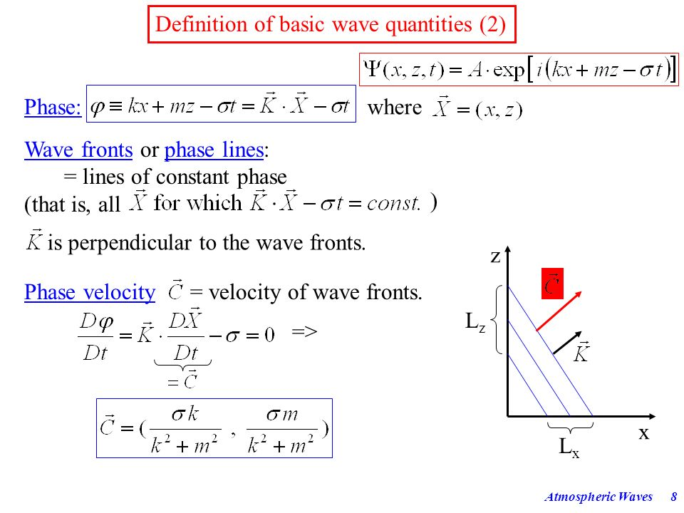Atmospheric Waves7 Definition of basic wave quantities (1) Mathematical expression for a 2-dimensional harmonic wave: Amplitude: A Wave numbers:Wave l