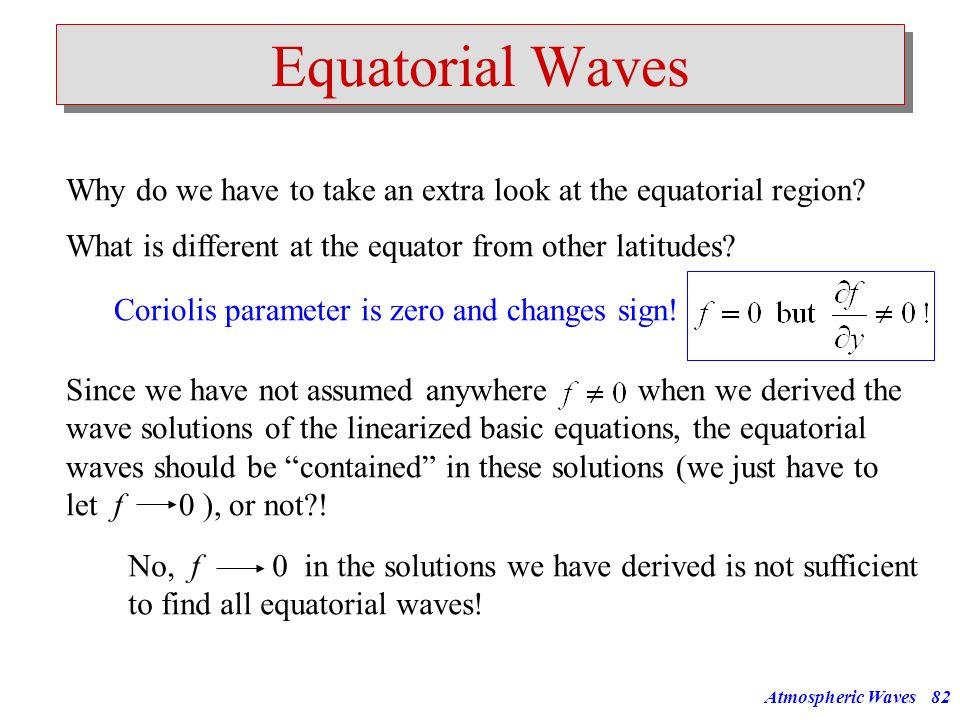 Atmospheric Waves81 f f... L= L=20km L=10km L=5km Horizontal Wavelength [km] Horizontal Phase Speed [m/s] 10000100010010 100 1000 10000 30h 3h 20min 2