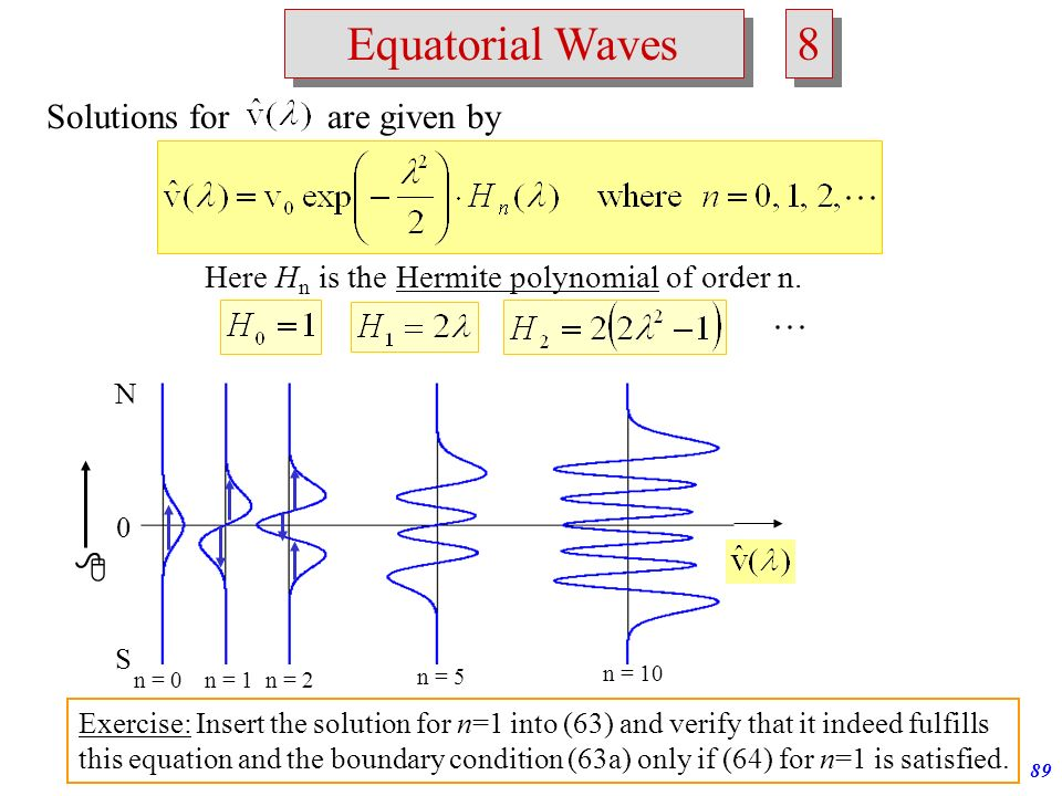 Atmospheric Waves88 Equatorial Waves 7 7 (63) Find solutions for (63) + boundary condition (63a): Solutions are possible only for discrete values of E