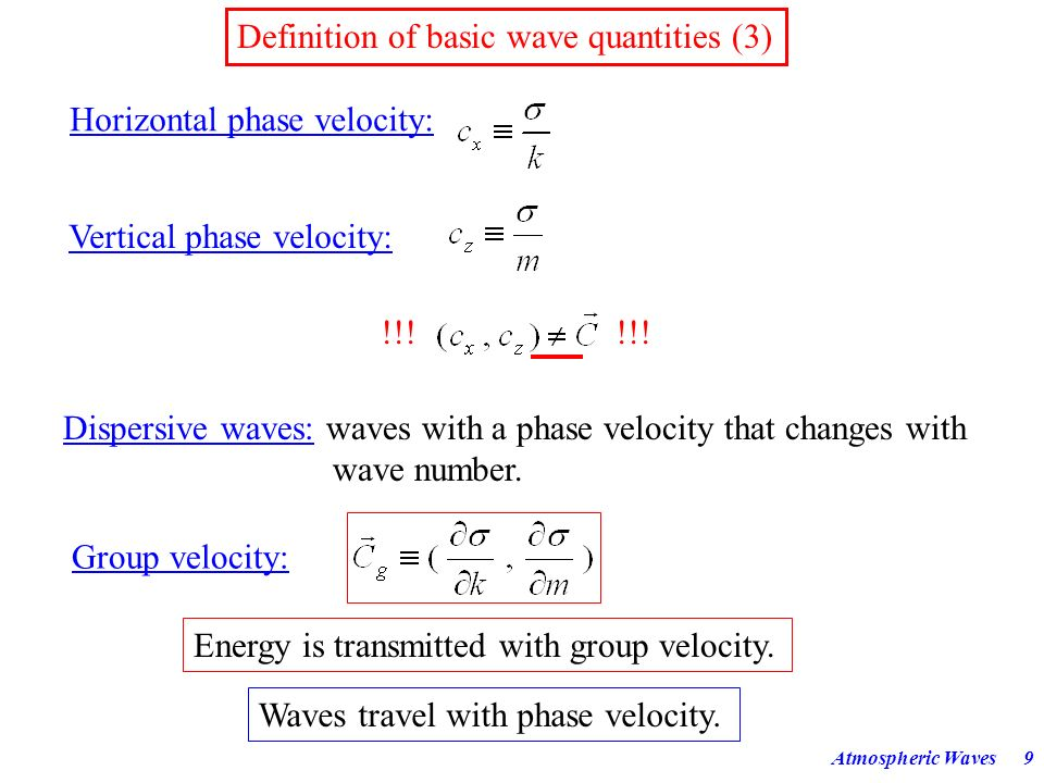 Atmospheric Waves8 Definition of basic wave quantities (2) Phase:where is perpendicular to the wave fronts. Wave fronts or phase lines: = lines of con