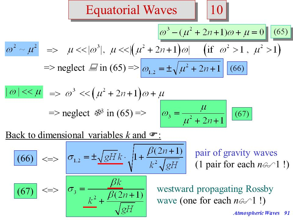 Atmospheric Waves90 Equatorial Waves 9 9 Inspection of the dispersion relationship (64): (64) (65) Cubic equation in the frequency. We expect 3 distin