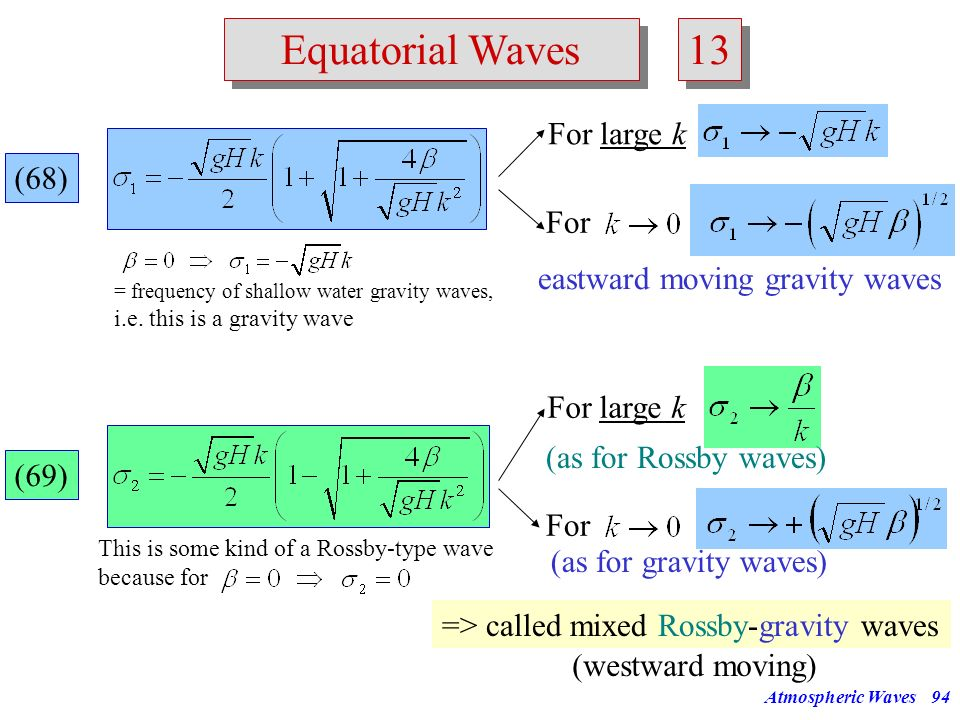 Atmospheric Waves93 Equatorial Waves 12 Case n = 0 : (65) Dispersion relationship (65) can be factorized: Root 1: Is not acceptable because a division